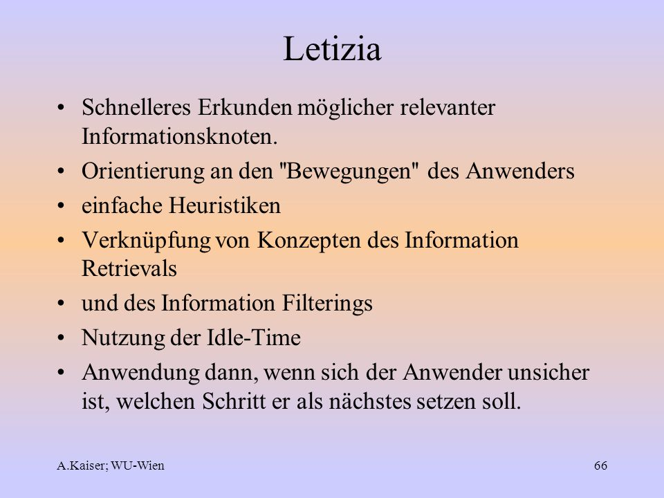 Letizia Schnelleres Erkunden möglicher relevanter Informationsknoten.