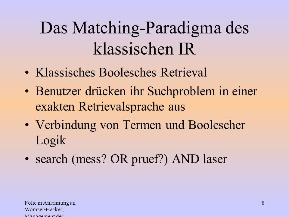 Das Matching-Paradigma des klassischen IR