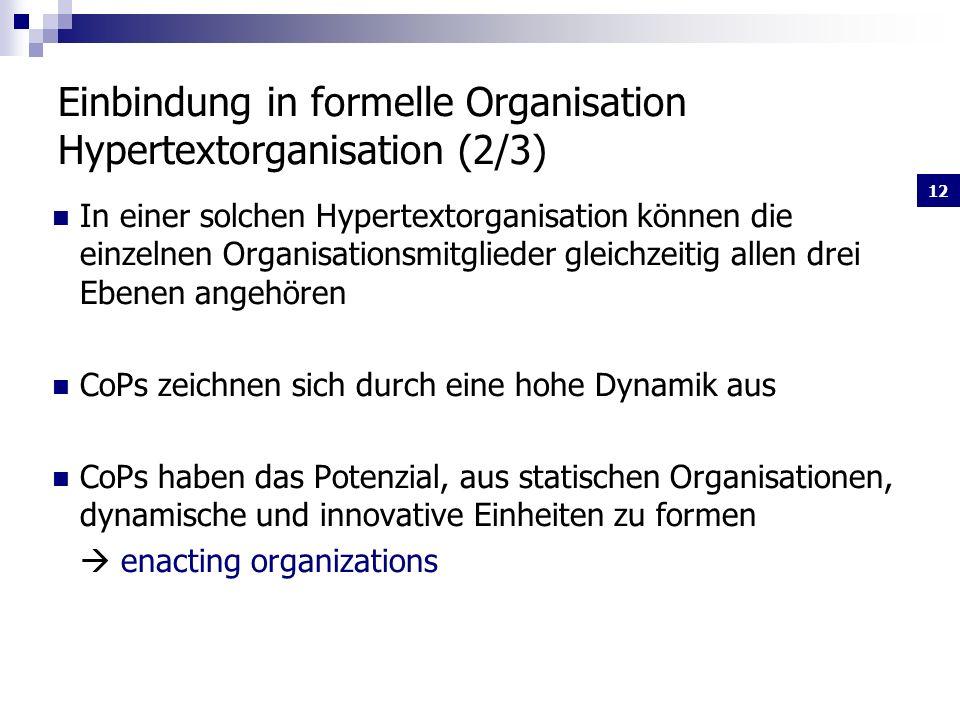 Einbindung in formelle Organisation Hypertextorganisation (2/3)