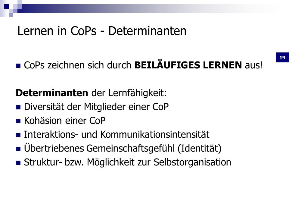 Lernen in CoPs - Determinanten