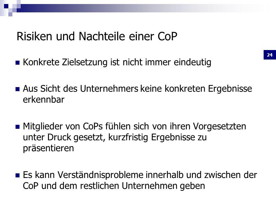 Risiken und Nachteile einer CoP