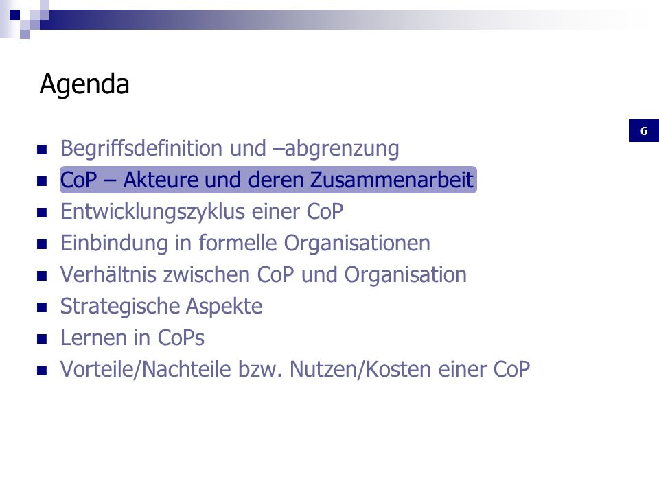 Agenda Begriffsdefinition und –abgrenzung