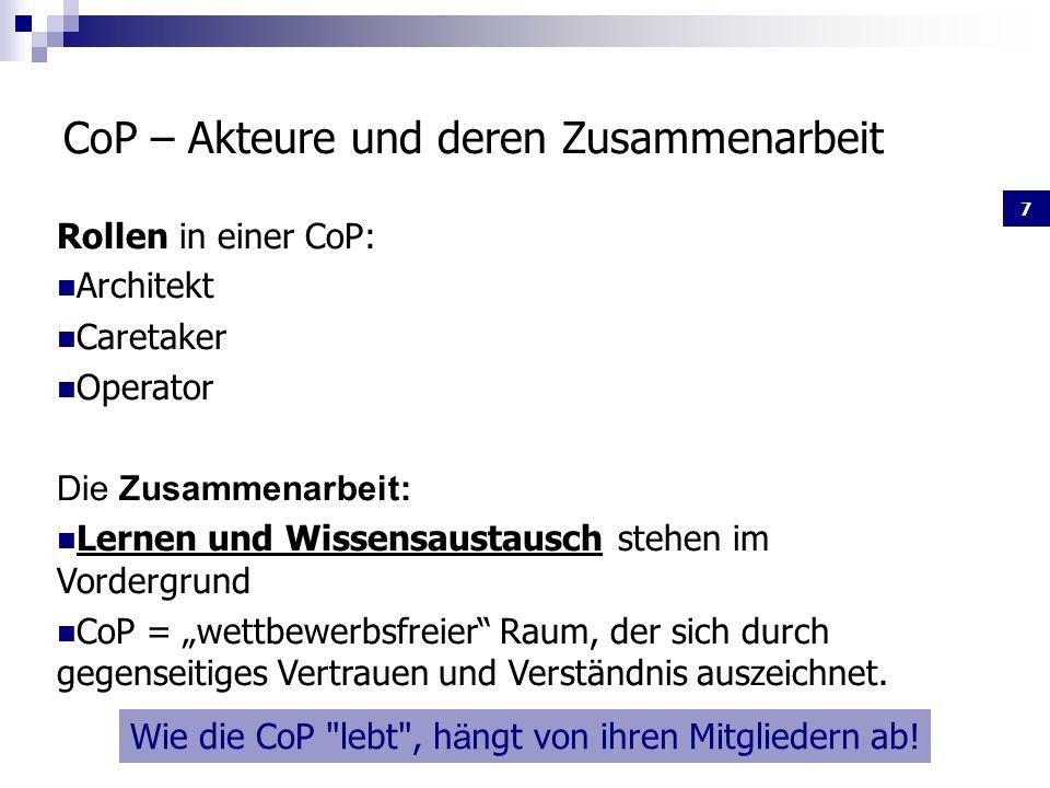 CoP – Akteure und deren Zusammenarbeit