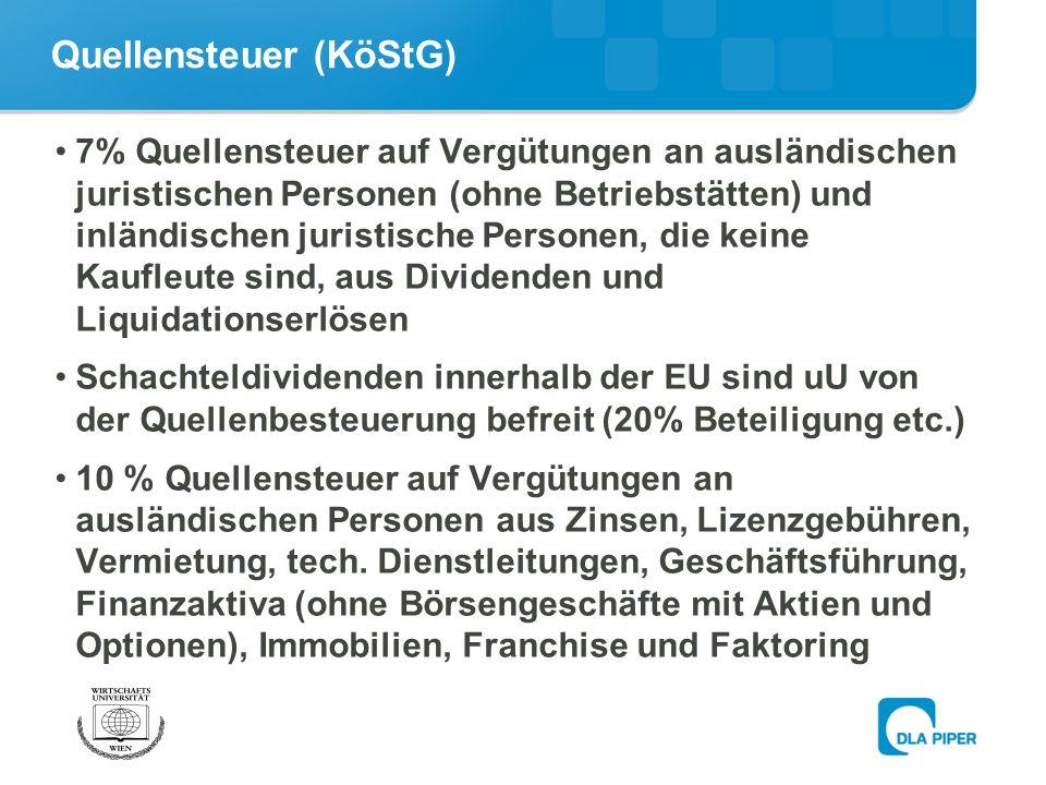 Quellensteuer (KöStG)