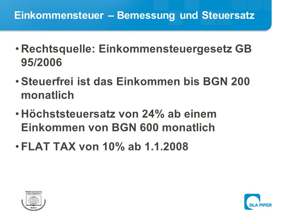 Einkommensteuer – Bemessung und Steuersatz