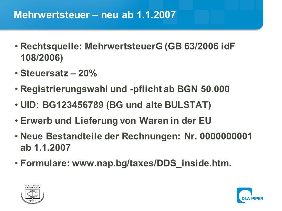 Mehrwertsteuer – neu ab 1.1.2007