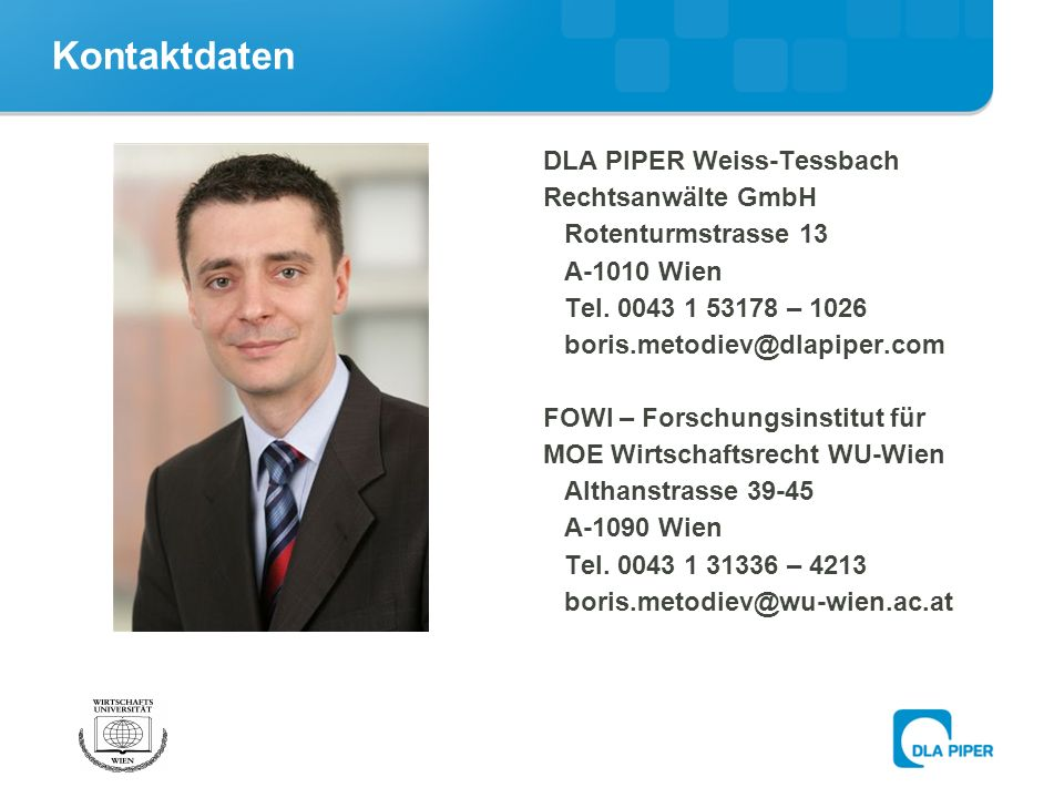 Kontaktdaten DLA PIPER Weiss-Tessbach Rechtsanwälte GmbH