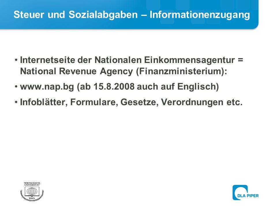 Steuer und Sozialabgaben – Informationenzugang