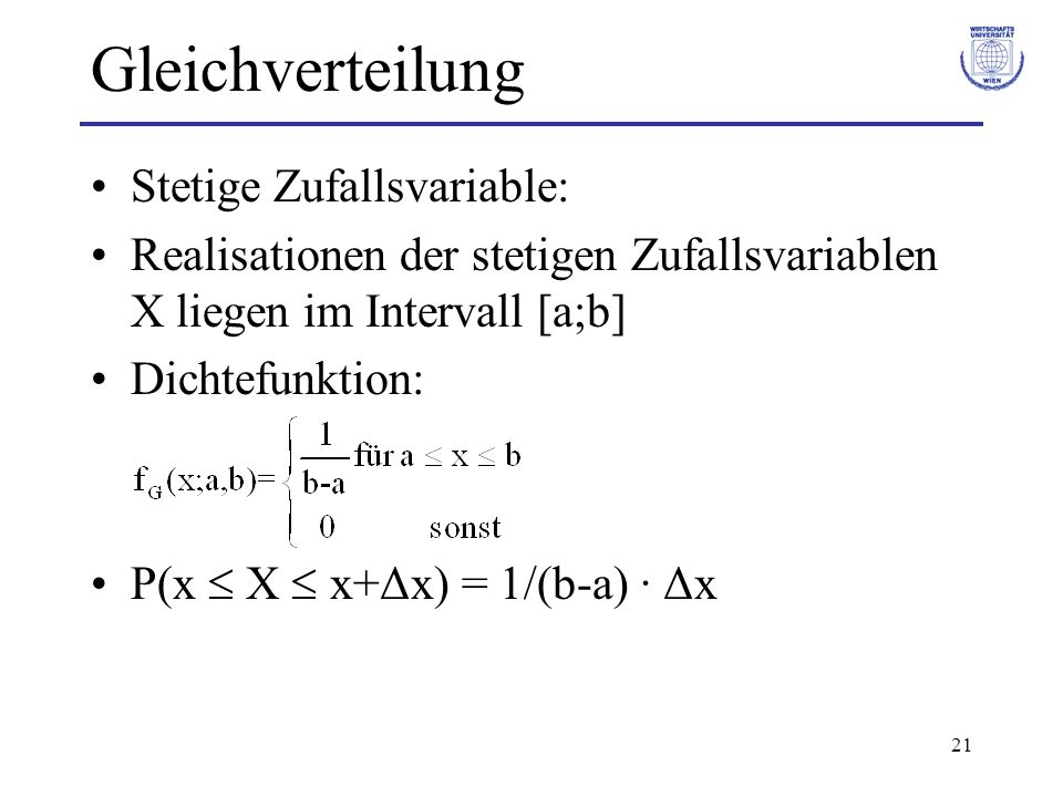 Gleichverteilung Stetige Zufallsvariable: