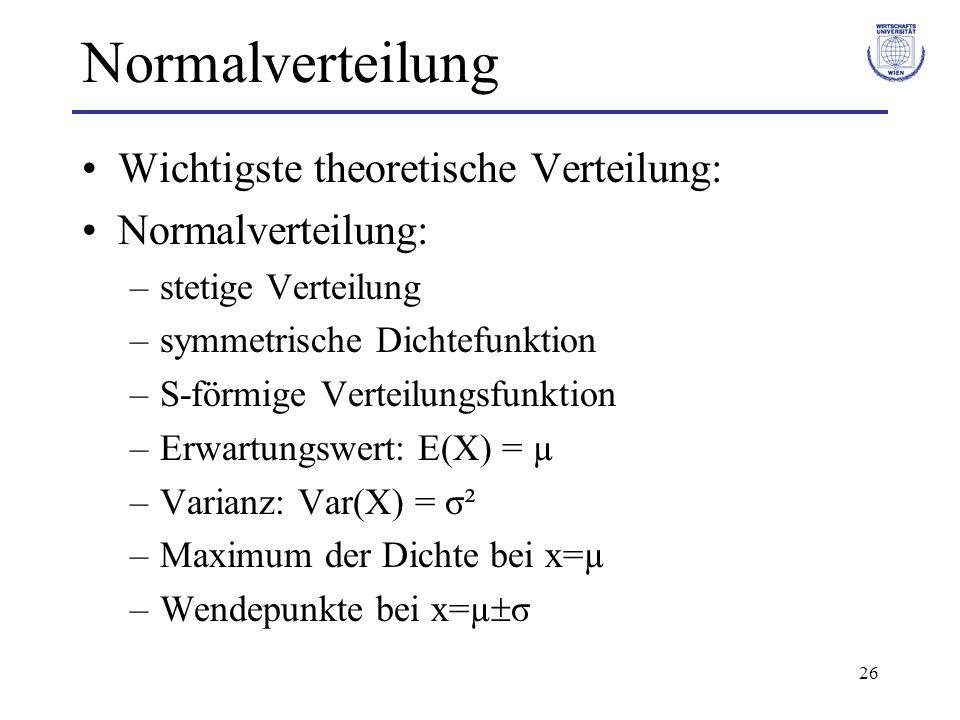 Normalverteilung Wichtigste theoretische Verteilung: Normalverteilung: