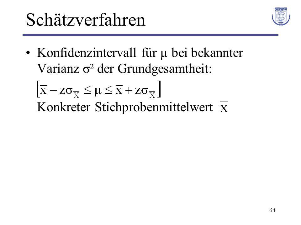 Schätzverfahren Konfidenzintervall für µ bei bekannter Varianz σ² der Grundgesamtheit: Konkreter Stichprobenmittelwert.