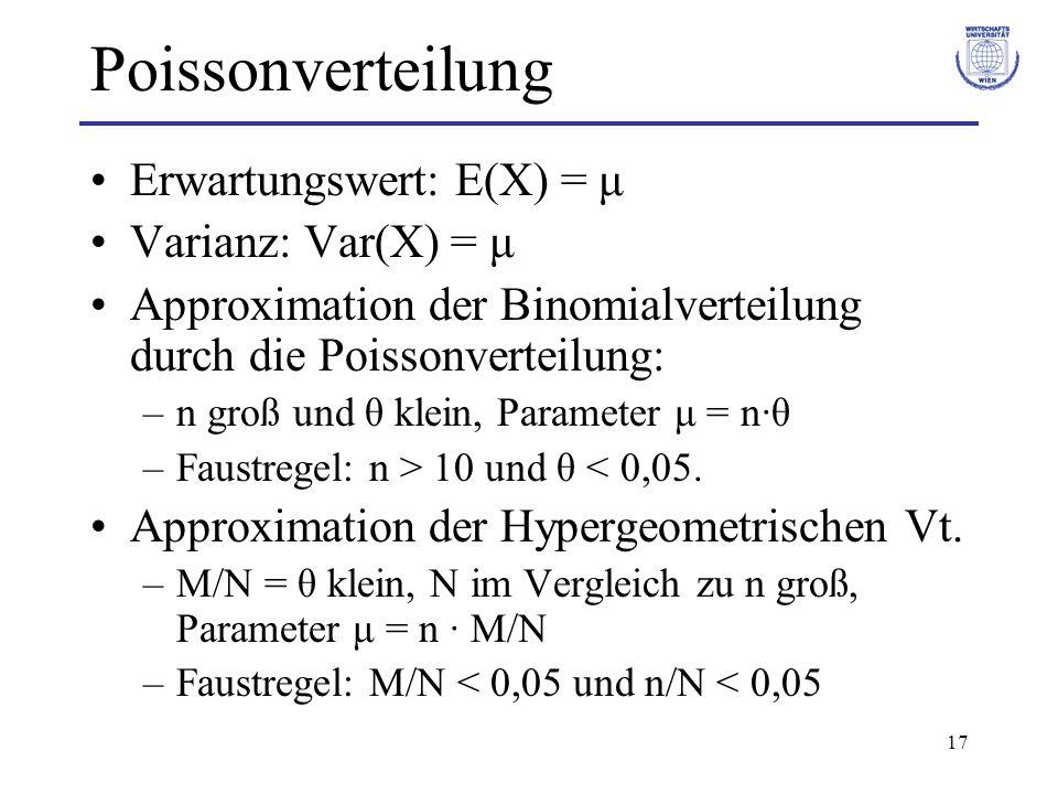 Poissonverteilung Erwartungswert: E(X) = μ Varianz: Var(X) = μ