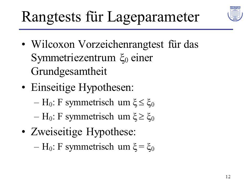 Rangtests für Lageparameter