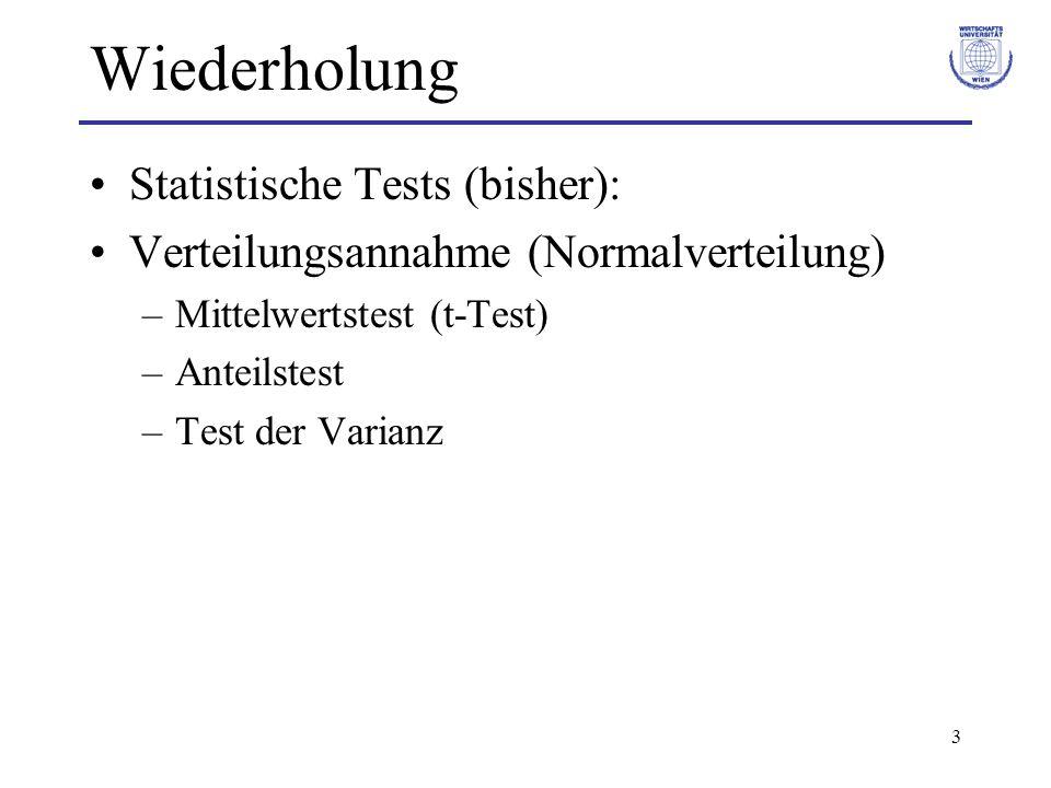 Wiederholung Statistische Tests (bisher):