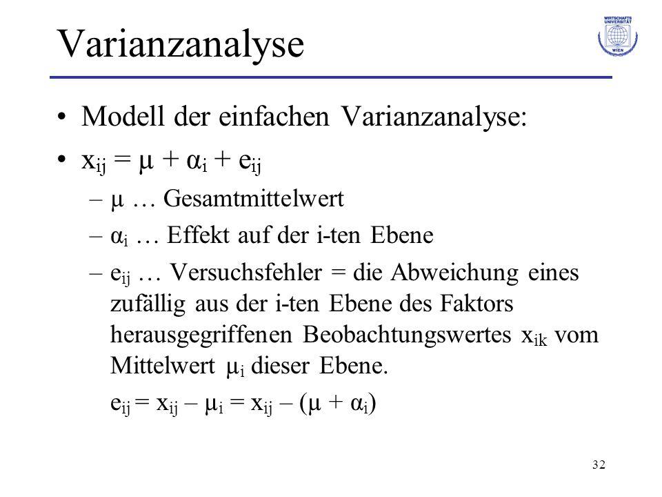 Varianzanalyse Modell der einfachen Varianzanalyse: xij = µ + αi + eij