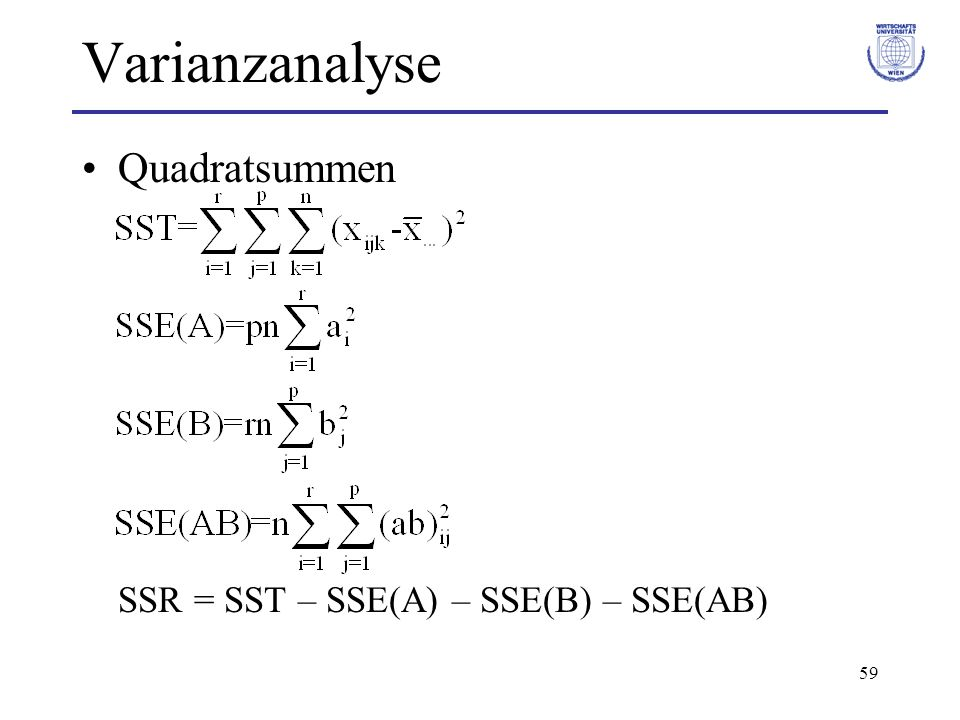 Varianzanalyse Quadratsummen SSR = SST – SSE(A) – SSE(B) – SSE(AB)