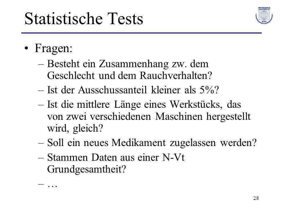 Statistische Tests Fragen: