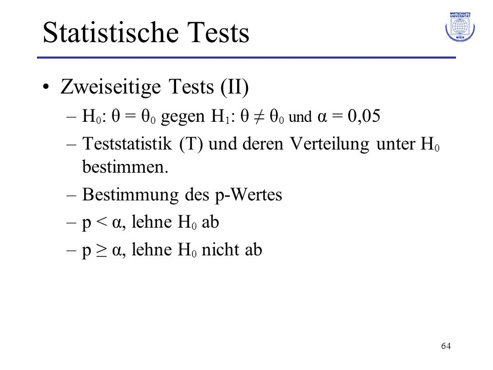 Statistische Tests Zweiseitige Tests (II)