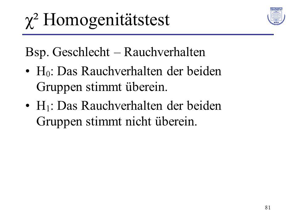 χ² Homogenitätstest Bsp. Geschlecht – Rauchverhalten
