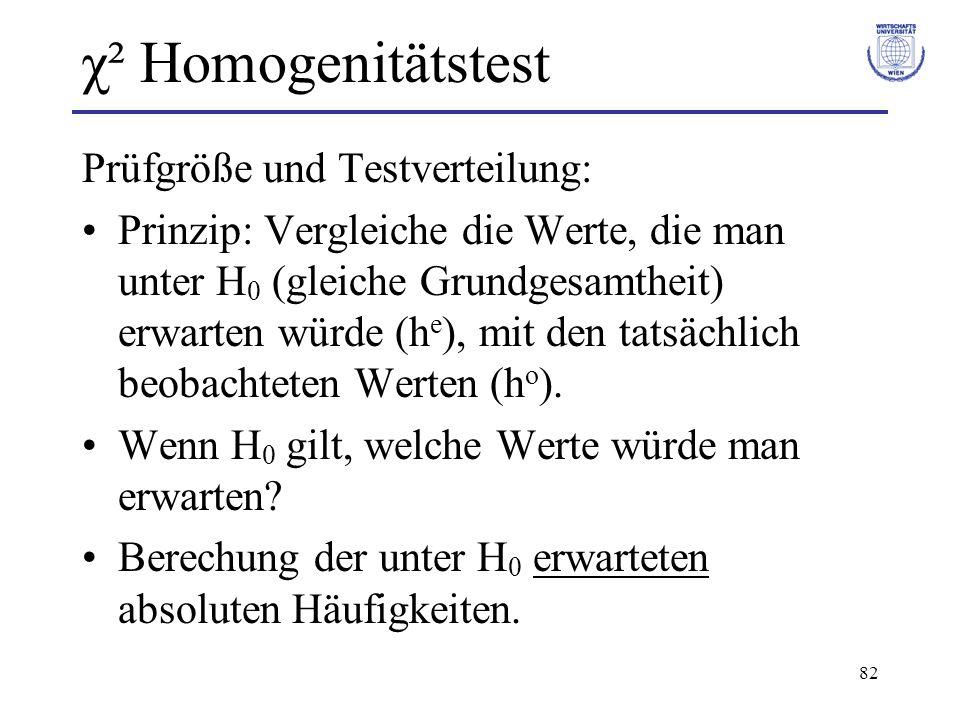 χ² Homogenitätstest Prüfgröße und Testverteilung: