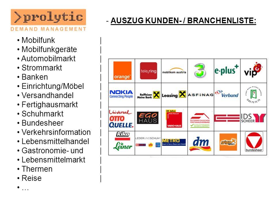 AUSZUG KUNDEN- / BRANCHENLISTE: