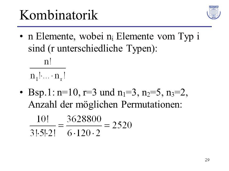 Kombinatorik n Elemente, wobei ni Elemente vom Typ i sind (r unterschiedliche Typen):