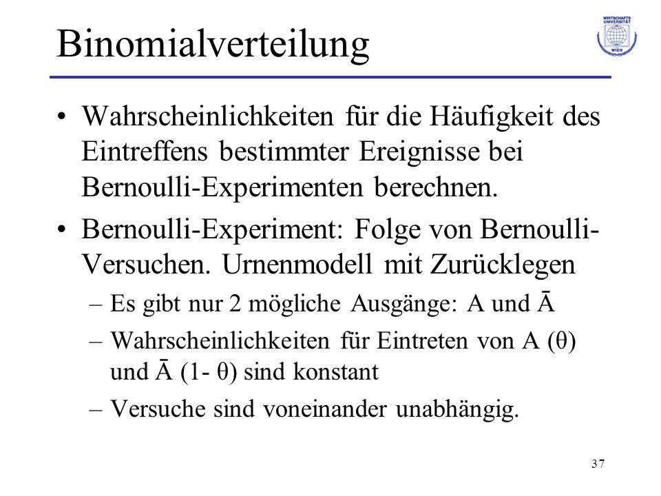 BinomialverteilungWahrscheinlichkeiten für die Häufigkeit des Eintreffens bestimmter Ereignisse bei Bernoulli-Experimenten berechnen.