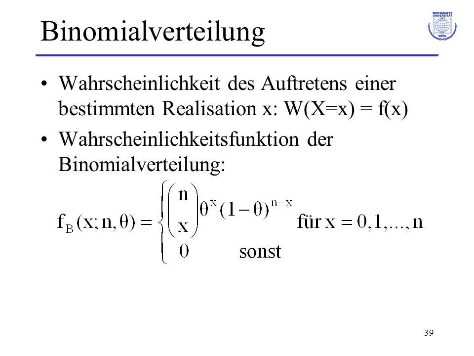 BinomialverteilungWahrscheinlichkeit des Auftretens einer bestimmten Realisation x: W(X=x) = f(x)