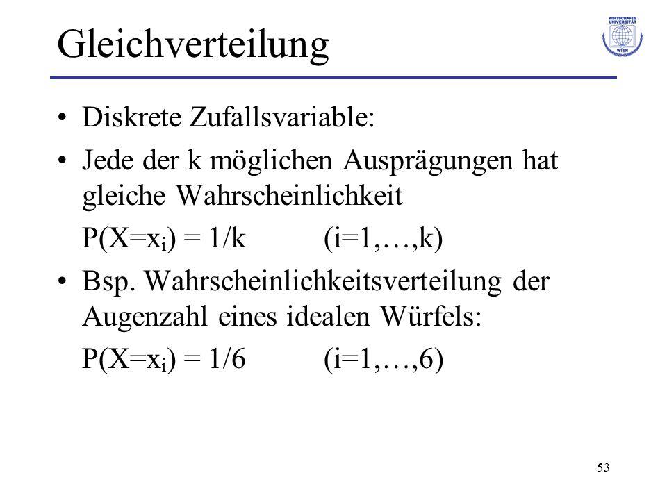 Gleichverteilung Diskrete Zufallsvariable: