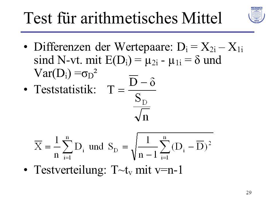 Test für arithmetisches Mittel