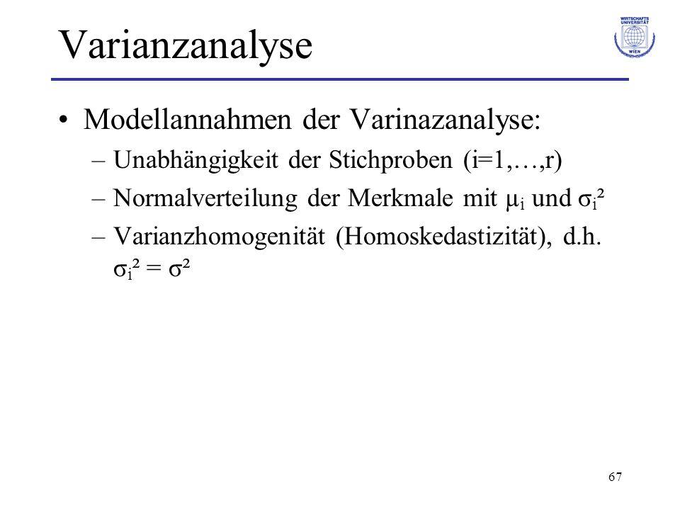 Varianzanalyse Modellannahmen der Varinazanalyse: