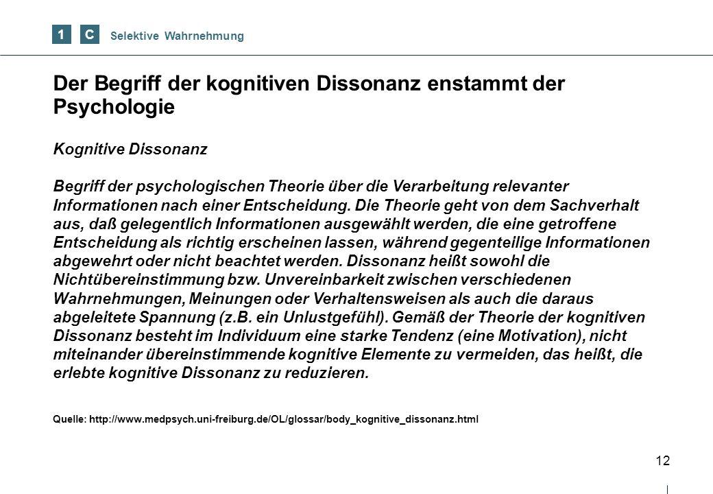 Der Begriff der kognitiven Dissonanz enstammt der Psychologie