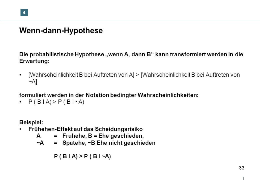"""4 Wenn-dann-Hypothese. Die probabilistische Hypothese """"wenn A, dann B kann transformiert werden in die."""