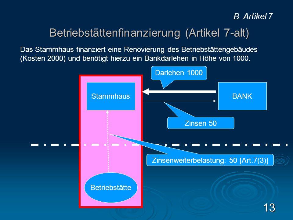 Betriebstättenfinanzierung (Artikel 7-alt)