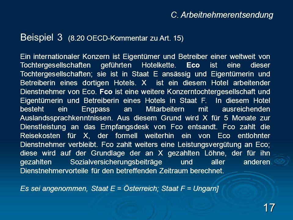 Beispiel 3 (8.20 OECD-Kommentar zu Art. 15)