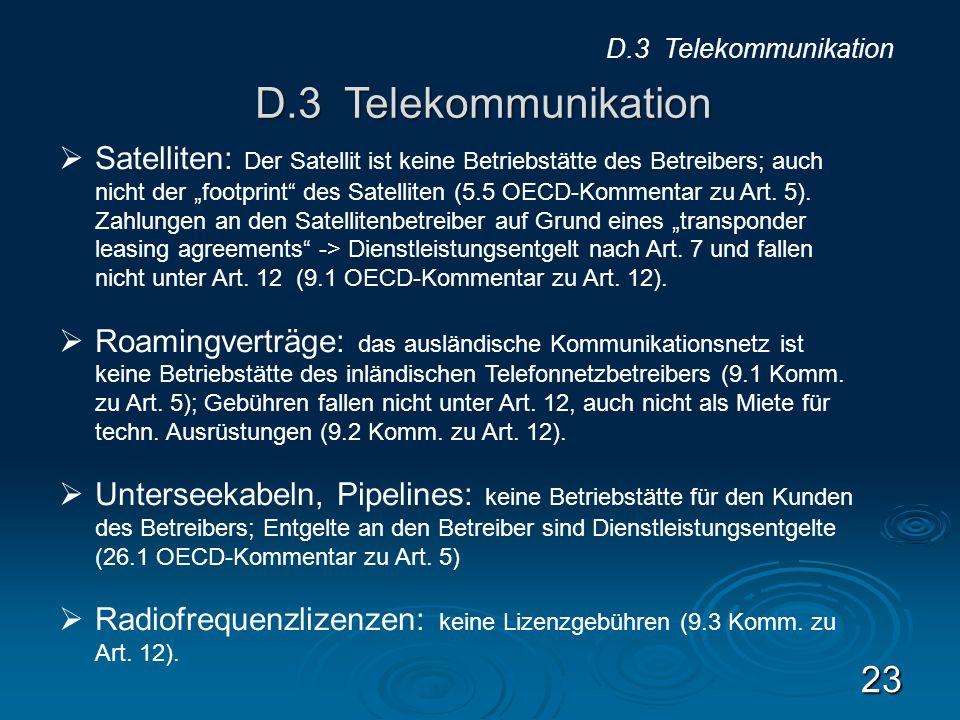 D.3 Telekommunikation D.3 Telekommunikation.
