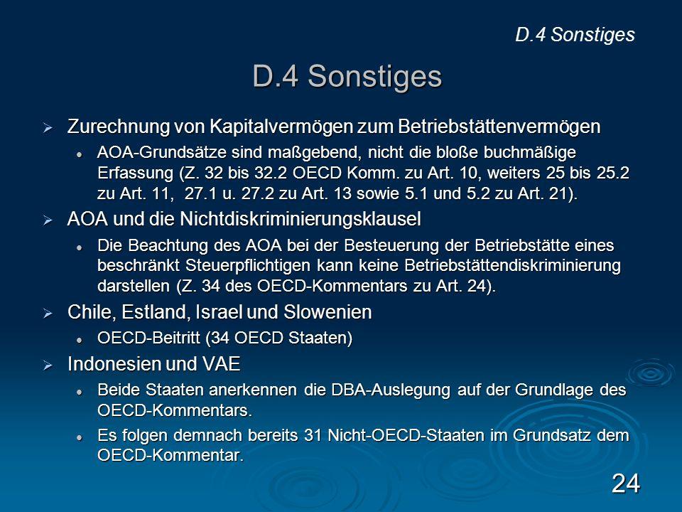 D.4 Sonstiges D.4 Sonstiges