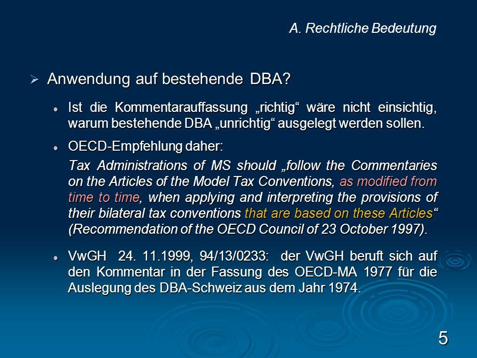 Anwendung auf bestehende DBA