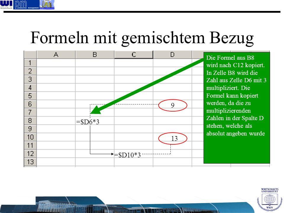 Formeln mit gemischtem Bezug