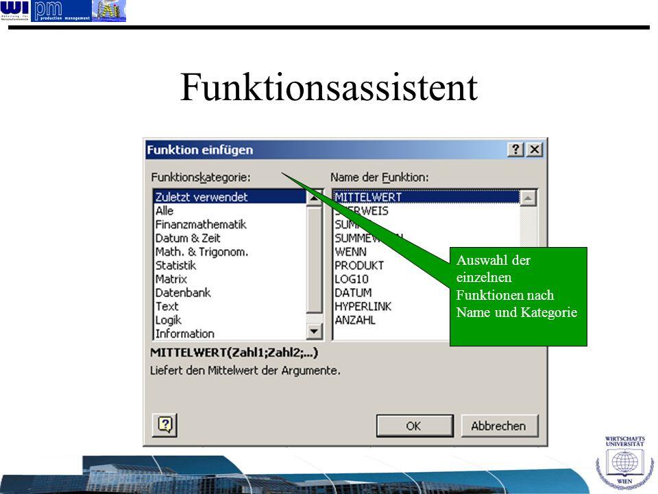 Funktionsassistent Auswahl der einzelnen Funktionen nach Name und Kategorie