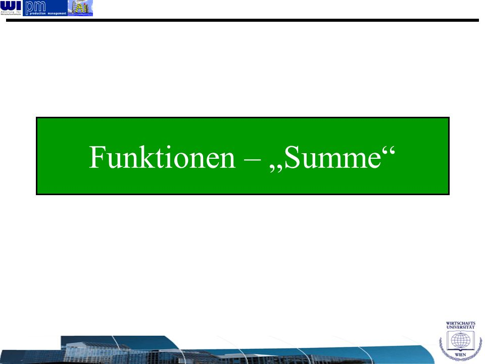 "Funktionen – ""Summe"