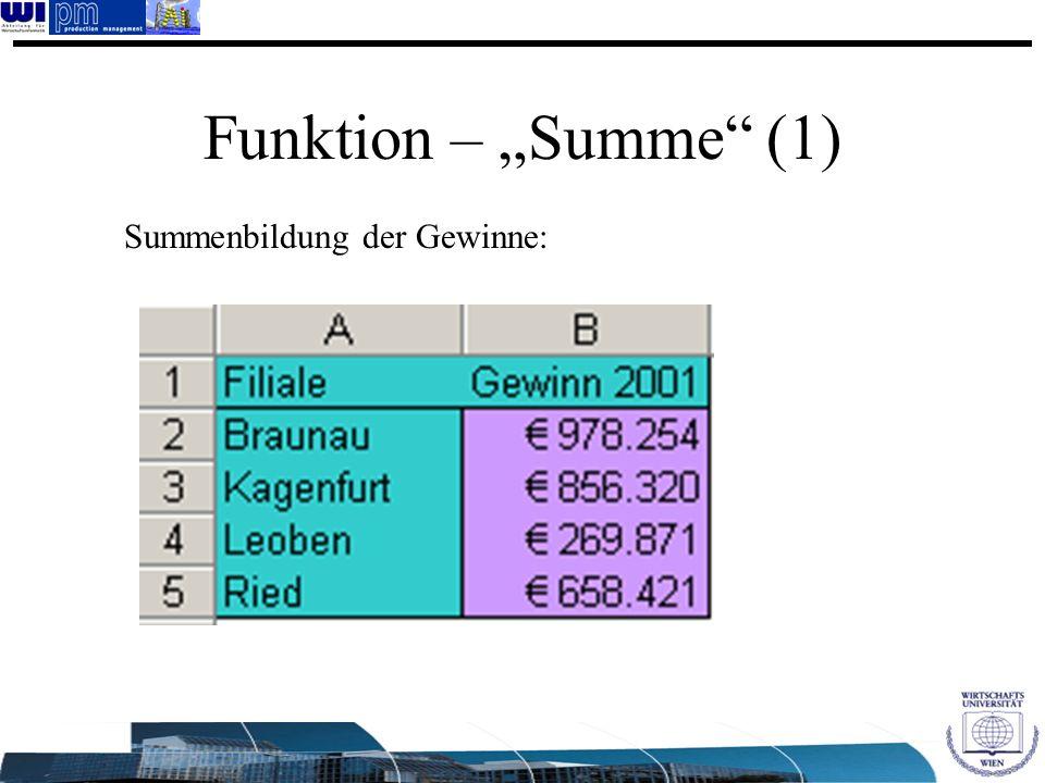 """Funktion – """"Summe (1) Summenbildung der Gewinne:"""