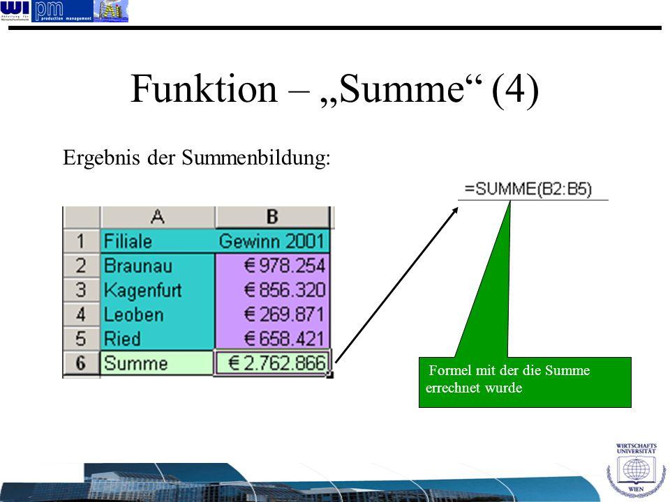 "Funktion – ""Summe (4) Ergebnis der Summenbildung:"