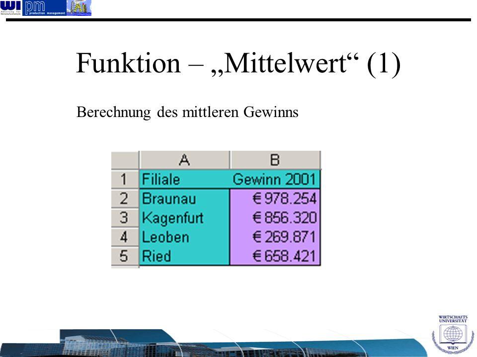 "Funktion – ""Mittelwert (1)"