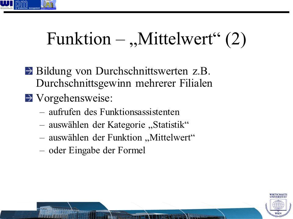 "Funktion – ""Mittelwert (2)"