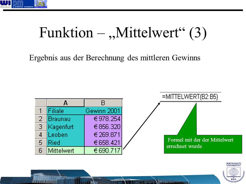 "Funktion – ""Mittelwert (3)"
