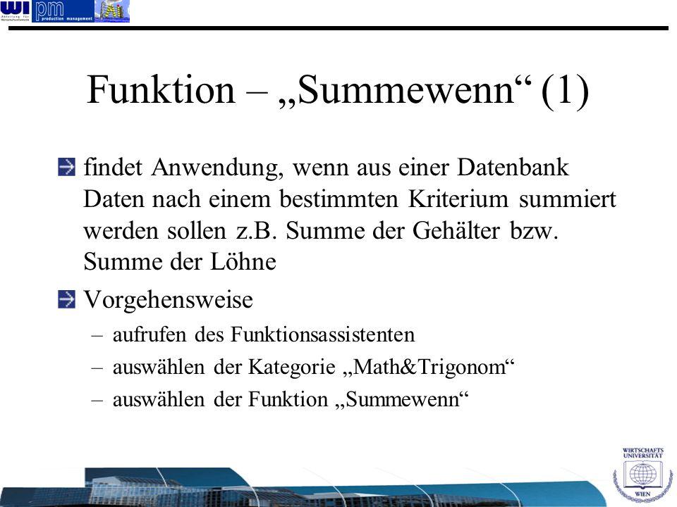 """Funktion – """"Summewenn (1)"""