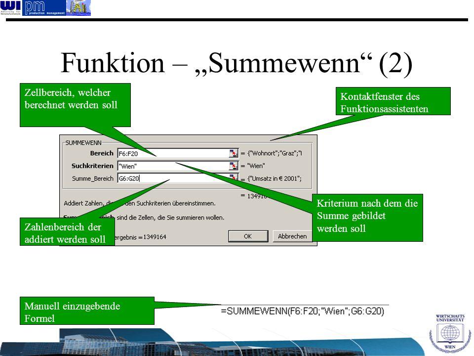 """Funktion – """"Summewenn (2)"""