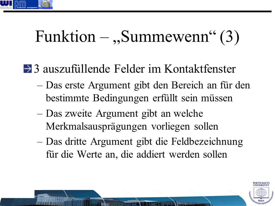 """Funktion – """"Summewenn (3)"""
