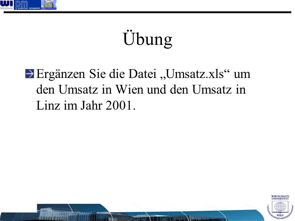"""Übung Ergänzen Sie die Datei """"Umsatz.xls um den Umsatz in Wien und den Umsatz in Linz im Jahr 2001."""